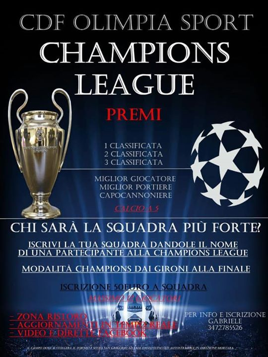 CHAMPIONS LEAGUE torneo calcietto a 5