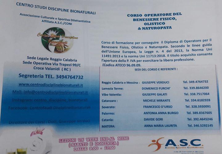 Corso Di Operatore Olistico, del Benessere & Naturopata