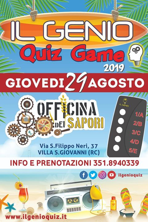 IL GENIO QUIZ - Officina Dei Sapori - Giovedì 29 Agosto