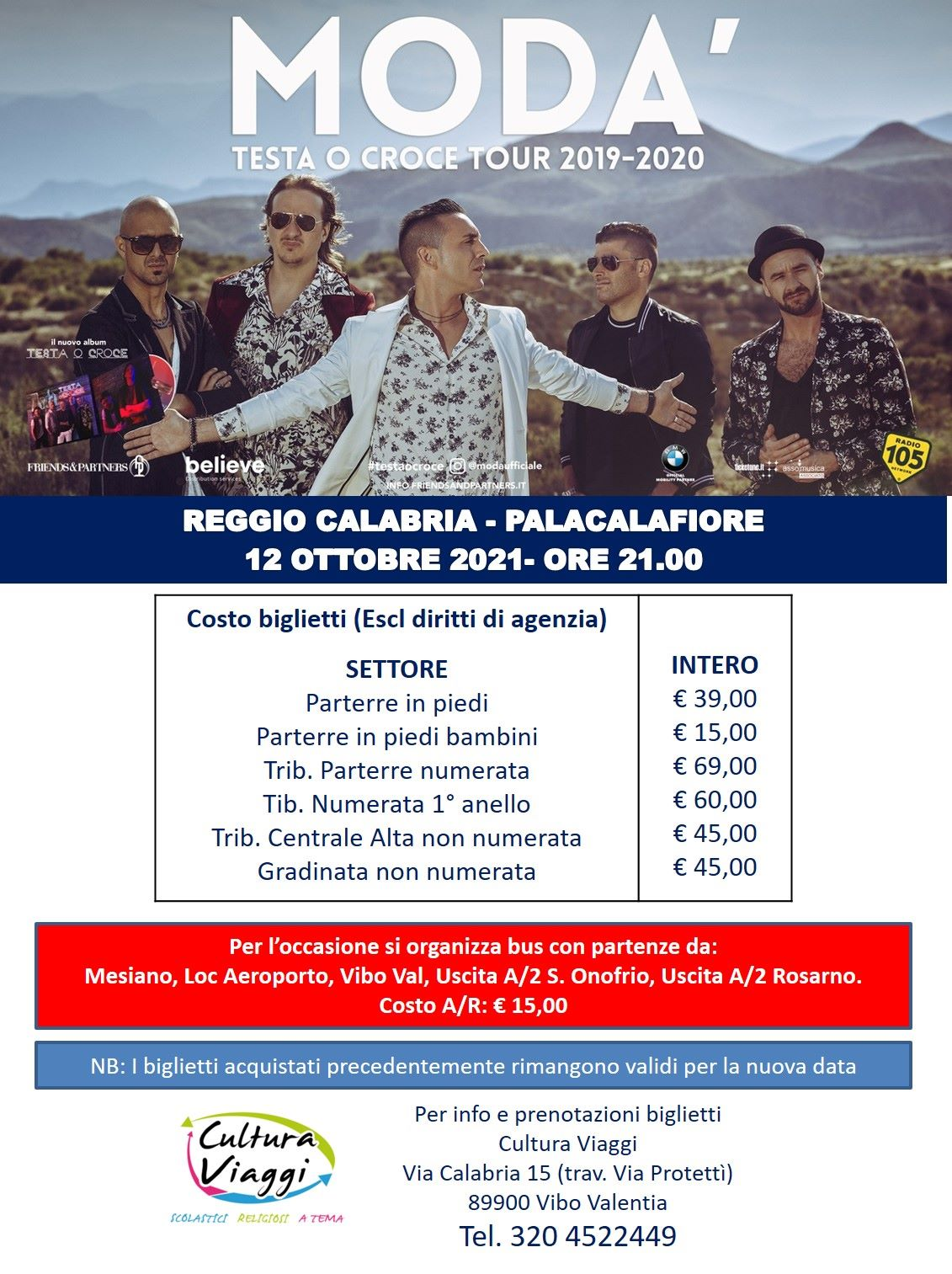 BUS - Concerto Modà - Reggio Calabria